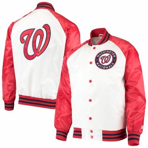 スターター STARTER ワシントン ナショナルズ メンズファッション コート ジャケット メンズ 【 Washington Nationals Clean-up Hitter Full-snap Jacket - White/red 】 White/red