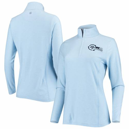 PETER MILLAR フェニックス レディース 青 ブルー 【 Waste Management Phoenix Open Womens Melange Perth Quarter-zip Pullover Jacket - Light Blue 】 Light Blue