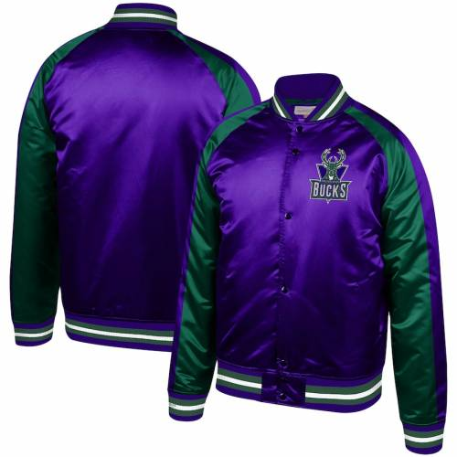 ミッチェル&ネス MITCHELL & NESS ミルウォーキー バックス サテン ラグラン 紫 パープル & 【 RAGLAN PURPLE MITCHELL NESS MILWAUKEE BUCKS HARDWOOD CLASSICS COLORBLOCK SATIN FULLSNAP JACKET 】 メンズファッ