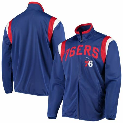 G-III SPORTS BY CARL BANKS ジースリー フィラデルフィア セブンティシクサーズ トラック 【 76ERS GIII SPORTS BY CARL BANKS PHILADELPHIA POST UP TRICOT FULLZIP TRACK JACKET ROYAL 】 メンズファッション コート ジ