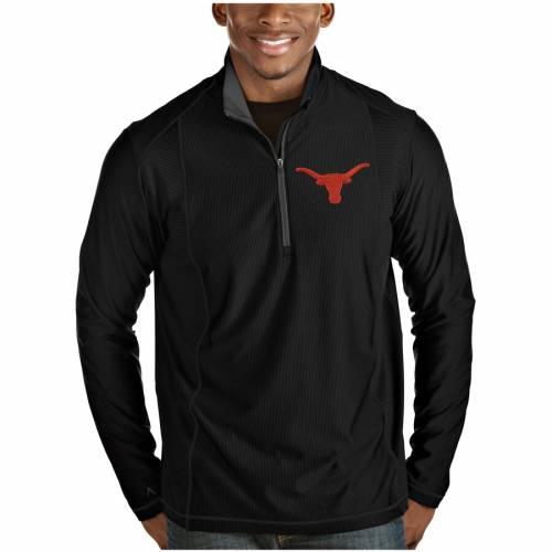 ANTIGUA テキサス 黒 ブラック メンズファッション コート ジャケット メンズ 【 Texas Longhorns Tempo Desert Dry Quarter-zip Pullover Jacket - Black 】 Black