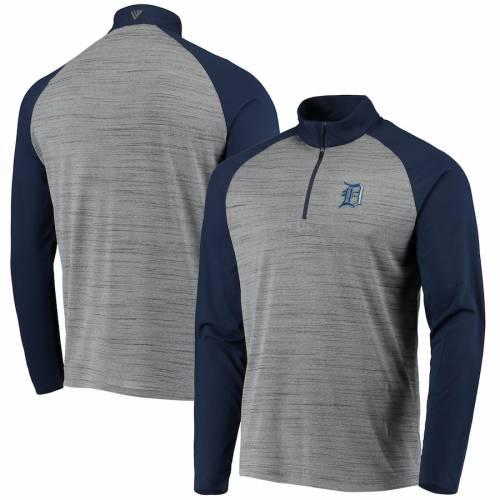 LEVELWEAR デトロイト タイガース バンダル ラグラン メンズファッション コート ジャケット メンズ 【 Detroit Tigers Vandal Raglan Quarter-zip Pullover Jacket - Gray/navy 】 Gray/navy