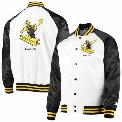 スターター STARTER ピッツバーグ スティーラーズ メンズファッション コート ジャケット メンズ 【 Pittsburgh Steelers Clean Up Throwback Varsity Full-snap Jacket - White/black 】 White/black