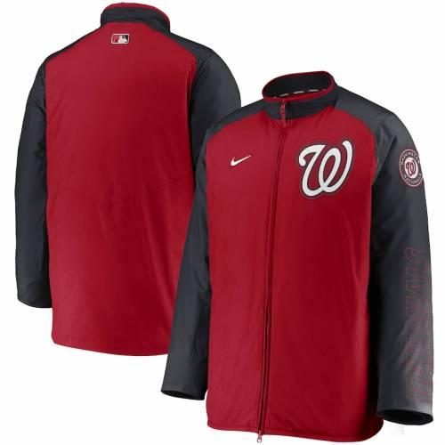 ナイキ NIKE ワシントン ナショナルズ オーセンティック コレクション メンズファッション コート ジャケット メンズ 【 Washington Nationals Authentic Collection Dugout Full-zip Jacket - Red/navy 】 Red/na