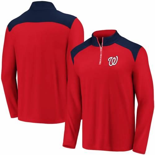 FANATICS BRANDED ワシントン ナショナルズ メンズファッション コート ジャケット メンズ 【 Washington Nationals Iconic Clutch Quarter-zip Pullover Jacket - Red/navy 】 Red/navy