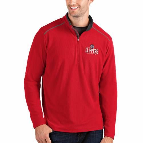 ANTIGUA クリッパーズ メンズファッション コート ジャケット メンズ 【 La Clippers Big And Tall Glacier Quarter-zip Pullover Jacket - Gray/gray 】 Red