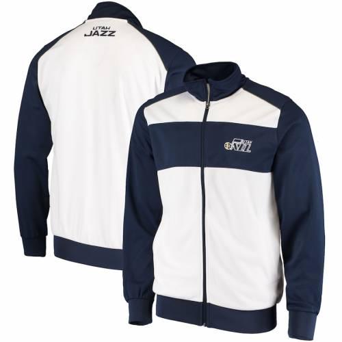 G-III SPORTS BY CARL BANKS ユタ ジャズ レイアップ トラック メンズファッション コート ジャケット メンズ 【 Utah Jazz Layup Full-zip Track Jacket - White/navy 】 White/navy