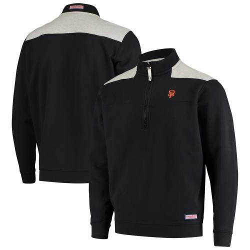 VINEYARD VINES ジャイアンツ メンズファッション コート ジャケット メンズ 【 San Francisco Giants Contrast Color Shep Shirt Half-zip Jacket - Black/gray 】 Black/gray