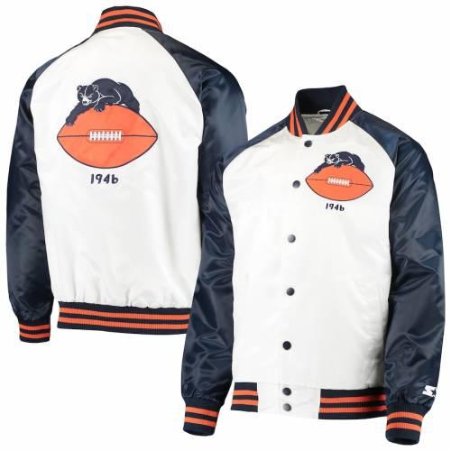 スターター STARTER シカゴ ベアーズ メンズファッション コート ジャケット メンズ 【 Chicago Bears Clean Up Throwback Varsity Full-snap Jacket - White/navy 】 White/navy