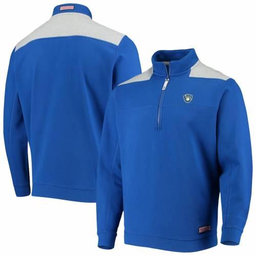 VINEYARD VINES ミルウォーキー ブルワーズ メンズファッション コート ジャケット メンズ 【 Milwaukee Brewers Contrast Color Shep Shirt Half-zip Jacket - Royal/gray 】 Royal/gray