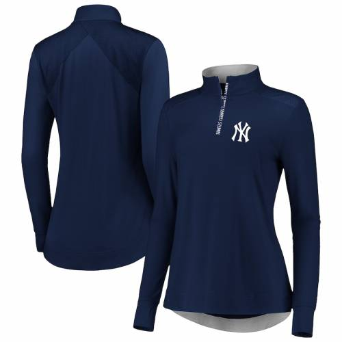 FANATICS BRANDED ヤンキース レディース 紺 ネイビー 【 New York Yankees Womens Iconic Clutch Half-zip Pullover Jacket - Navy 】 Navy