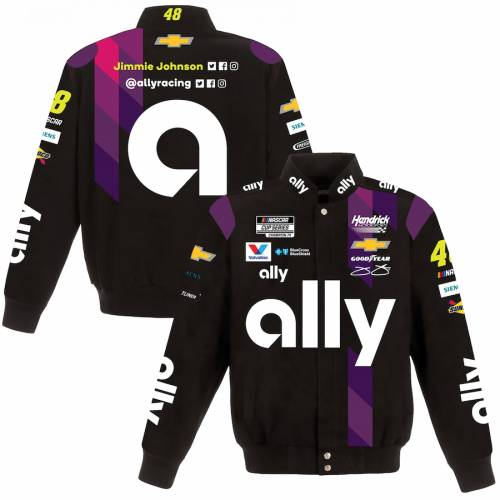JH DESIGN ジョンソン メンズファッション コート ジャケット メンズ 【 Jimmie Johnson Ally 2020 Full-snap Twill Uniform Jacket - Black/purple 】 Black/purple