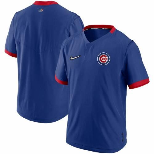 ナイキ NIKE シカゴ カブス オーセンティック コレクション スリーブ メンズファッション コート ジャケット メンズ 【 Chicago Cubs Authentic Collection Short Sleeve Hot Pullover Jacket - Royal/red 】 Royal