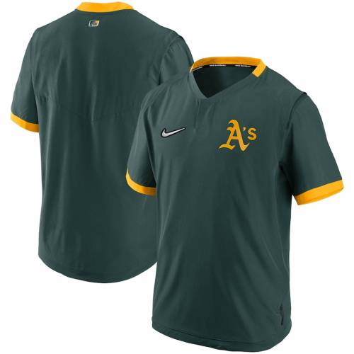 ナイキ NIKE オークランド オーセンティック コレクション スリーブ メンズファッション コート ジャケット メンズ 【 Oakland Athletics Authentic Collection Short Sleeve Hot Pullover Jacket - Green/gold 】