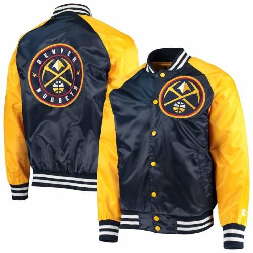 スターター STARTER デンバー ナゲッツ サテン メンズファッション コート ジャケット メンズ 【 Denver Nuggets Point Guard Satin Full-snap Jacket - Navy/gold 】 Navy/gold
