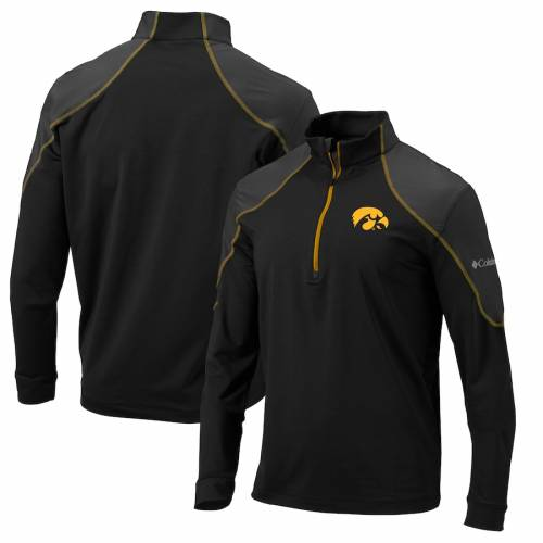 コロンビア COLUMBIA メンズファッション コート ジャケット メンズ 【 Iowa Hawkeyes Omni-wick Panel Quarter-zip Pullover Jacket - Black/gold 】 Black/gold