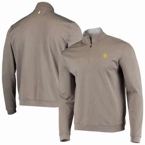 JOHNNIE-O パドレス 茶 ブラウン メンズファッション コート ジャケット メンズ 【 San Diego Padres Diaz Quarter-zip Jacket - Brown 】 Brown