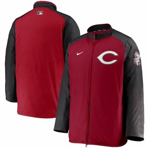 ナイキ NIKE シンシナティ レッズ オーセンティック コレクション メンズファッション コート ジャケット メンズ 【 Cincinnati Reds Authentic Collection Dugout Full-zip Jacket - Red/black 】 Red/black