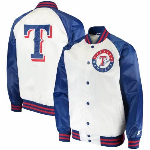 スターター STARTER テキサス レンジャーズ メンズファッション コート ジャケット メンズ 【 Texas Rangers Clean-up Hitter Full-snap Jacket - White/royal 】 White/royal