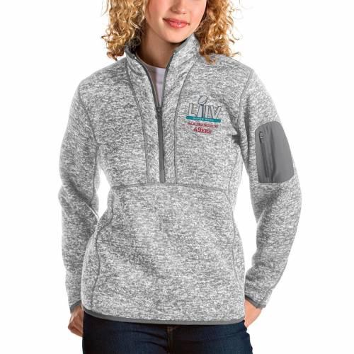 ANTIGUA フォーティーナイナーズ レディース ヘザー 灰色 グレー グレイ 【 San Francisco 49ers Womens Super Bowl Liv Bound Fortune Half-zip Pullover Jacket - Heather Gray 】 Heather Gray