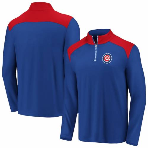 FANATICS BRANDED シカゴ カブス メンズファッション コート ジャケット メンズ 【 Chicago Cubs Iconic Clutch Quarter-zip Pullover Jacket - Royal/red 】 Royal/red
