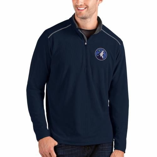 ANTIGUA ミネソタ ティンバーウルブズ メンズファッション コート ジャケット メンズ 【 Minnesota Timberwolves Big And Tall Glacier Quarter-zip Pullover Jacket - Gray/gray 】 Navy