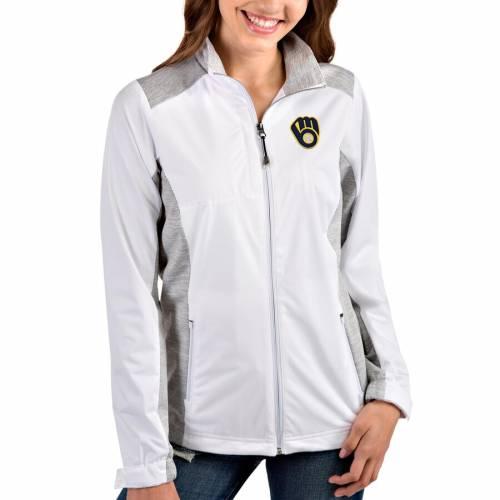 ANTIGUA ミルウォーキー ブルワーズ レディース チーム 【 Milwaukee Brewers Womens Team Revolve Full-zip Jacket 】 White