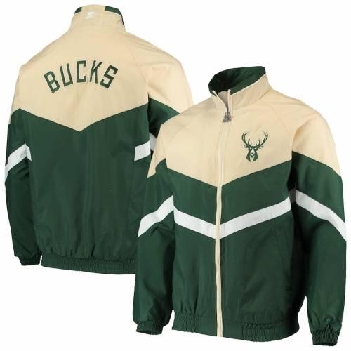 スターター STARTER ミルウォーキー バックス オックスフォード メンズファッション コート ジャケット メンズ 【 Milwaukee Bucks Bank Shot Oxford Full-zip Jacket - Hunter Green/cream 】 Hunter Green/cream