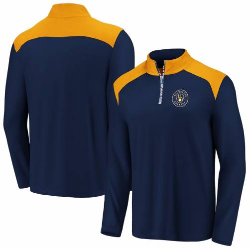 FANATICS BRANDED ミルウォーキー ブルワーズ メンズファッション コート ジャケット メンズ 【 Milwaukee Brewers Iconic Clutch Quarter-zip Pullover Jacket - Navy/gold 】 Navy/gold