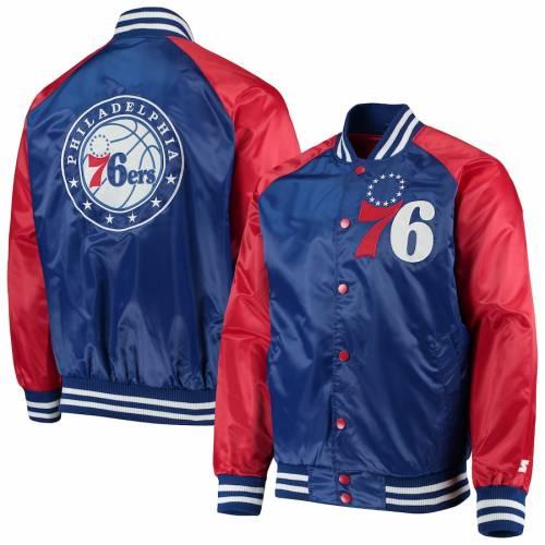 スターター STARTER フィラデルフィア セブンティシクサーズ サテン メンズファッション コート ジャケット メンズ 【 Philadelphia 76ers Point Guard Satin Full-snap Jacket - Royal/red 】 Royal/red