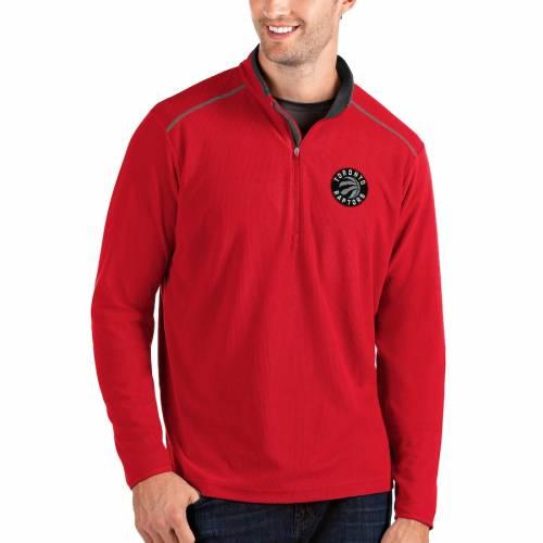 ANTIGUA トロント ラプターズ メンズファッション コート ジャケット メンズ 【 Toronto Raptors Big And Tall Glacier Quarter-zip Pullover Jacket - Black/red 】 Red