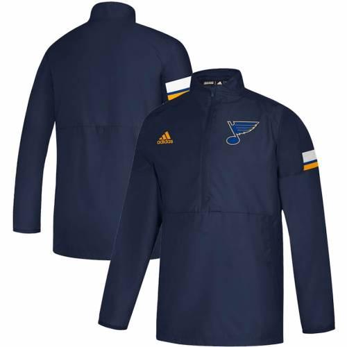 アディダス ADIDAS ゲーム 紺 ネイビー St. メンズファッション コート ジャケット メンズ 【 St. Louis Blues Game Mode Quarter-zip Pullover Jacket - Navy 】 Navy