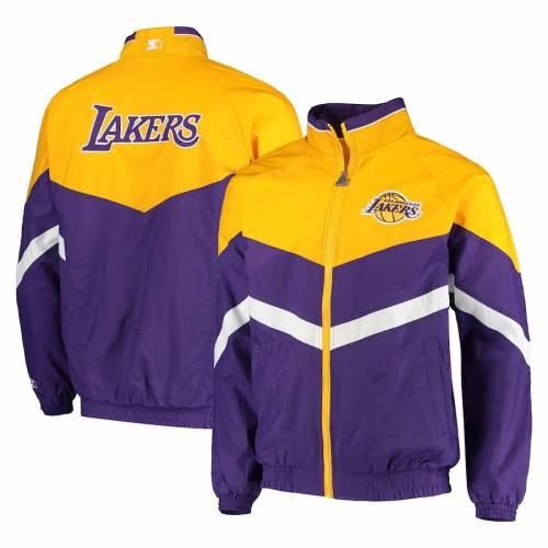 スターター STARTER レイカーズ オックスフォード メンズファッション コート ジャケット メンズ 【 Los Angeles Lakers Bank Shot Oxford Full-zip Jacket - Purple/gold 】 Purple/gold