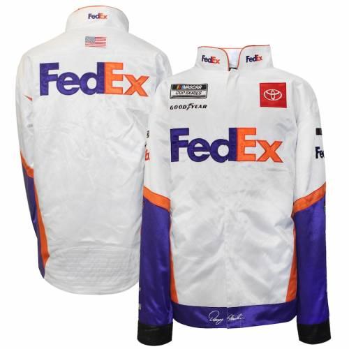 SMI PROPERTIES 白 ホワイト メンズファッション コート ジャケット メンズ 【 Denny Hamlin Fedex Full-snap Pit Jacket - White 】 White