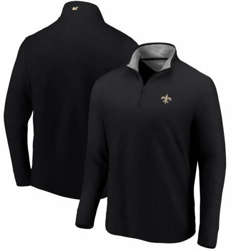 VINEYARD VINES セインツ 黒 ブラック メンズファッション コート ジャケット メンズ 【 New Orleans Saints Saltwater Quarter-zip Jacket - Heathered Black 】 Heathered Black