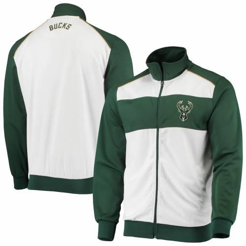 G-III SPORTS BY CARL BANKS ミルウォーキー バックス レイアップ トラック 緑 グリーン メンズファッション コート ジャケット メンズ 【 Milwaukee Bucks Layup Full-zip Track Jacket - White/hunter Green 】 Whi