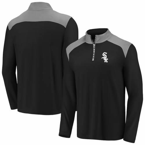 FANATICS BRANDED シカゴ 白 ホワイト メンズファッション コート ジャケット メンズ 【 Chicago White Sox Iconic Clutch Quarter-zip Pullover Jacket - Black/gray 】 Black/gray