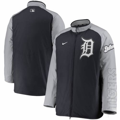 ナイキ NIKE デトロイト タイガース オーセンティック コレクション メンズファッション コート ジャケット メンズ 【 Detroit Tigers Authentic Collection Dugout Full-zip Jacket - Navy/gray 】 Navy/gray