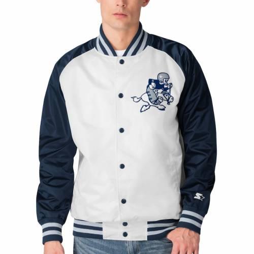 スターター STARTER ダラス カウボーイズ メンズファッション コート ジャケット メンズ 【 Dallas Cowboys Clean Up Throwback Varsity Full-snap Jacket - White/navy 】 White/navy