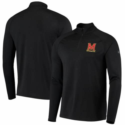アンダーアーマー UNDER ARMOUR メリーランド パフォーマンス 黒 ブラック メンズファッション コート ジャケット メンズ 【 Maryland Terrapins Performance Quarter-zip Pullover Jacket - Black 】 Black