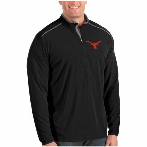ANTIGUA テキサス 黒 ブラック メンズファッション コート ジャケット メンズ 【 Texas Longhorns Glacier Big And Tall Quarter-zip Pullover Jacket - Black 】 Black