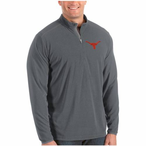 ANTIGUA テキサス 黒 ブラック メンズファッション コート ジャケット メンズ 【 Texas Longhorns Glacier Big And Tall Quarter-zip Pullover Jacket - Black 】 Gray