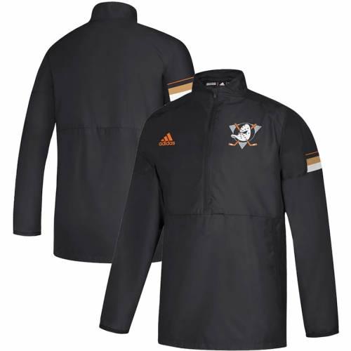 アディダス ADIDAS ゲーム 黒 ブラック メンズファッション コート ジャケット メンズ 【 Anaheim Ducks Game Mode Quarter-zip Pullover Jacket - Black 】 Black