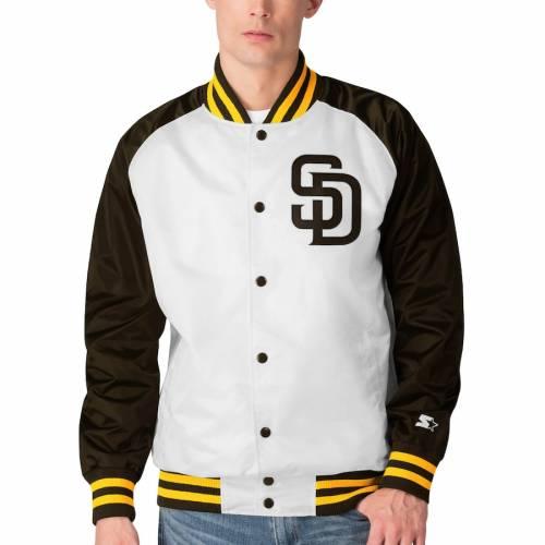 スターター STARTER パドレス メンズファッション コート ジャケット メンズ 【 San Diego Padres Clean-up Hitter Full-snap Jacket - White/brown 】 White/brown