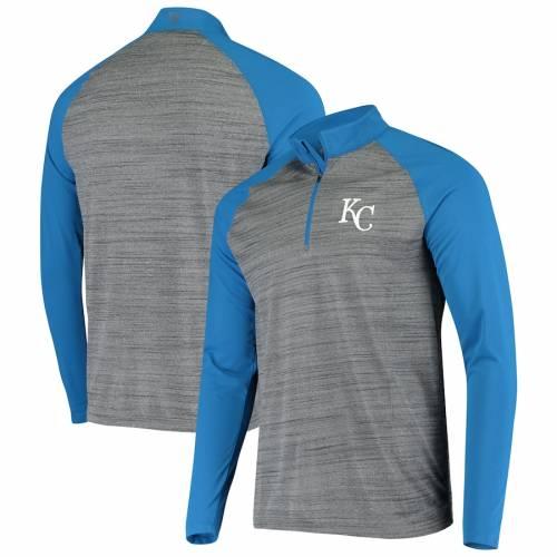 LEVELWEAR カンザス シティ ロイヤルズ バンダル ラグラン メンズファッション コート ジャケット メンズ 【 Kansas City Royals Vandal Raglan Quarter-zip Pullover Jacket - Gray/royal 】 Gray/royal