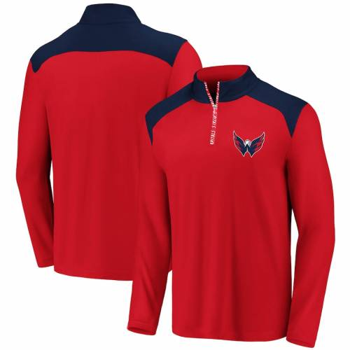 FANATICS BRANDED ワシントン メンズファッション コート ジャケット メンズ 【 Washington Capitals Iconic Clutch Quarter-zip Pullover Jacket - Red/navy 】 Red/navy