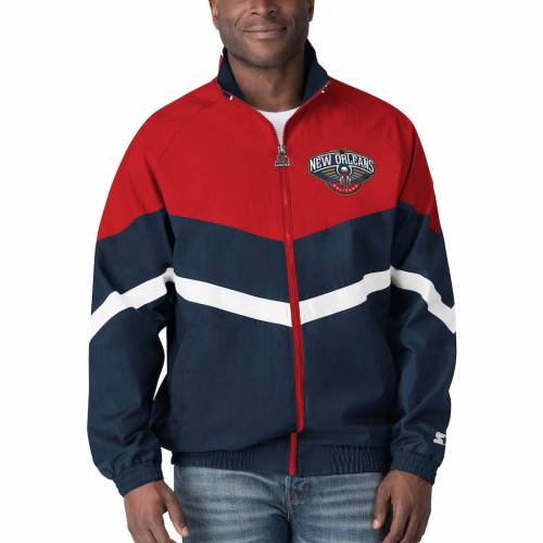 スターター STARTER オックスフォード メンズファッション コート ジャケット メンズ 【 New Orleans Pelicans Bank Shot Oxford Full-zip Jacket - Navy/red 】 Navy/red