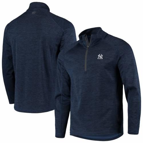 VINEYARD VINES ヤンキース ラグラン 紺 ネイビー メンズファッション コート ジャケット メンズ 【 New York Yankees Striped Sankaty Raglan Half-zip Jacket - Navy 】 Navy