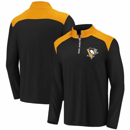 FANATICS BRANDED ピッツバーグ メンズファッション コート ジャケット メンズ 【 Pittsburgh Penguins Iconic Clutch Quarter-zip Pullover Jacket - Black/gold 】 Black/gold
