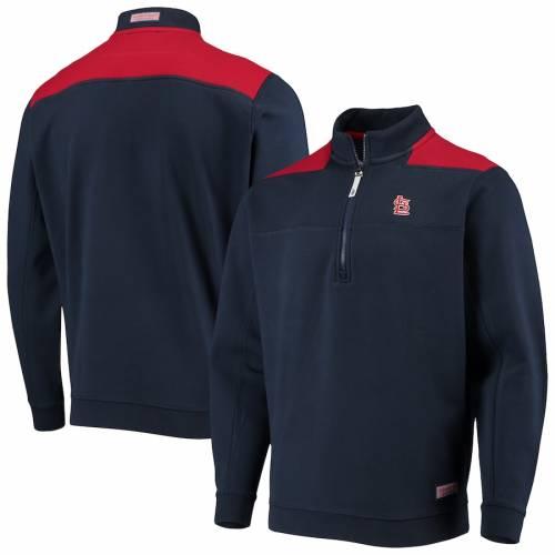 VINEYARD VINES カーディナルス St. メンズファッション コート ジャケット メンズ 【 St. Louis Cardinals Contrast Color Shep Shirt Half-zip Jacket - Navy/red 】 Navy/red